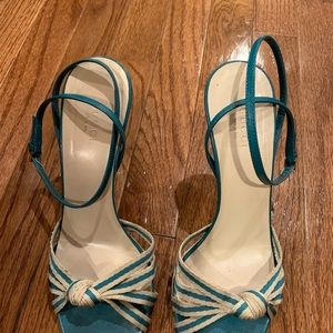 Gucci Knotted Aqua and Cream Sandals